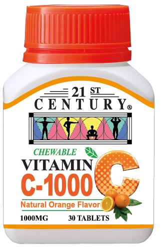 VITAMIN C 1000 - 30 Orange Chewable tablets, Delicious